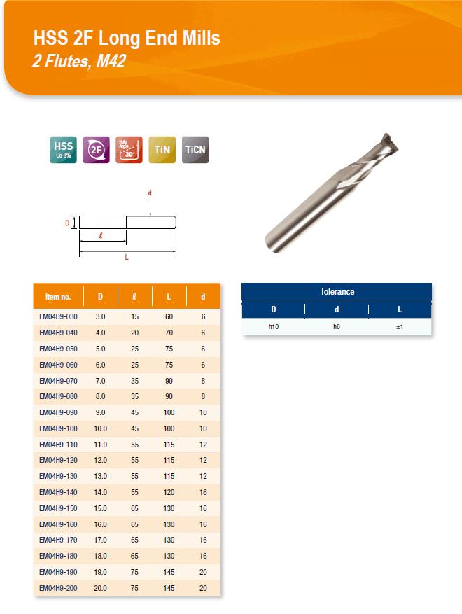 DYC Total Tools HSS 2F Long End Mills 2 Flutes, M42 EM04H9 Series