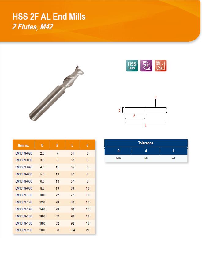 DYC Total Tools HSS 2F AL End Mills 2 Flutes, M42 EM13H9 Series