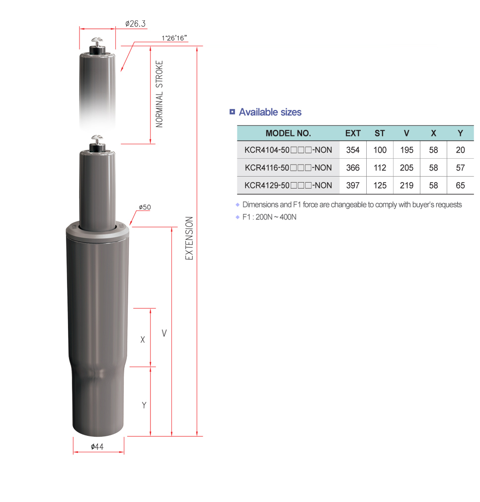 Korea Gas Spring Non-rotational Clean Cylinder  1