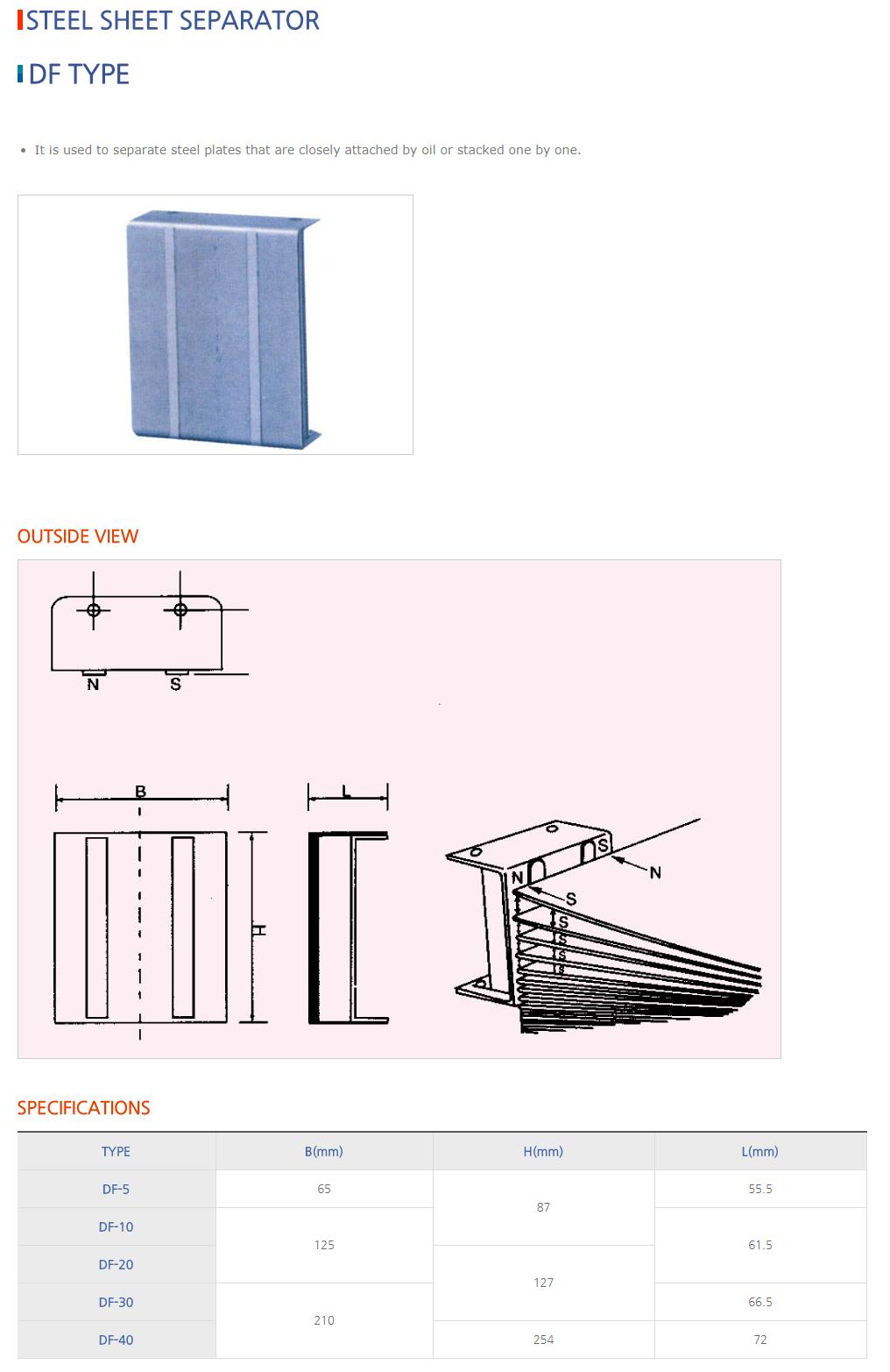 DAESUNG MARGNET Steel Sheet Separator DF Type