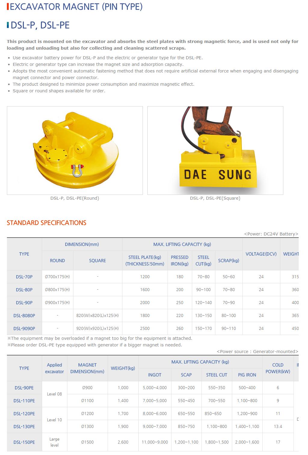 DAESUNG MARGNET Excavator Magnet (Pin Type) DSL-P/DSL-PE Type