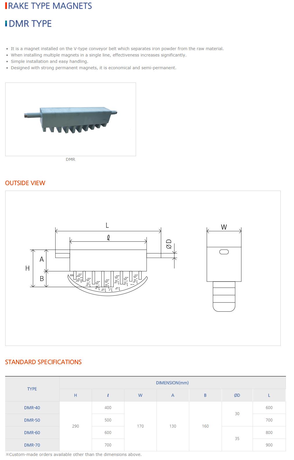 DAESUNG MARGNET Rake Type Magnets DMR Type