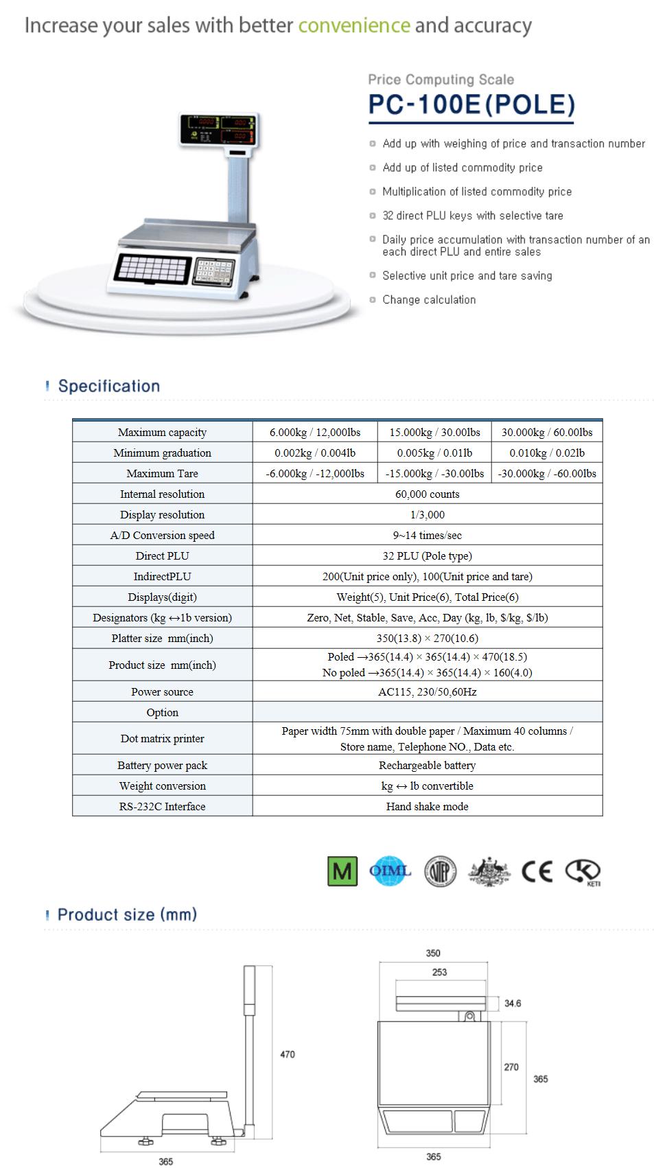 ACOM Price Computing Scale PC-100E