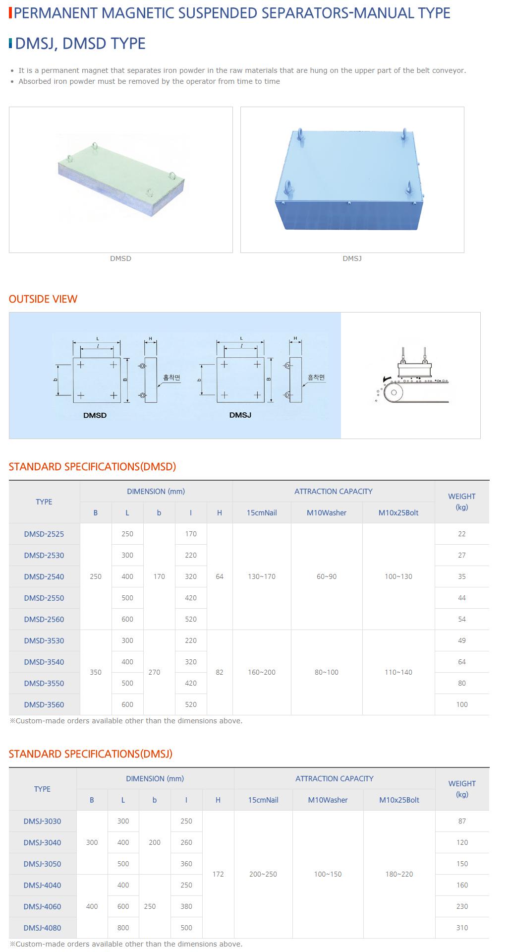 DAESUNG MARGNET Permanent Magnetic Suspended Separators (Manual Type) DMSJ/DMSD Type