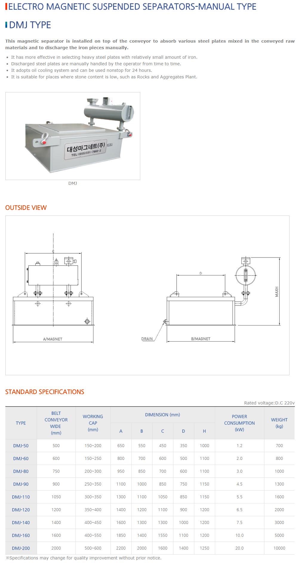 DAESUNG MARGNET Electro Magnetic Suspended Separators (Manual Type) DMJ Type
