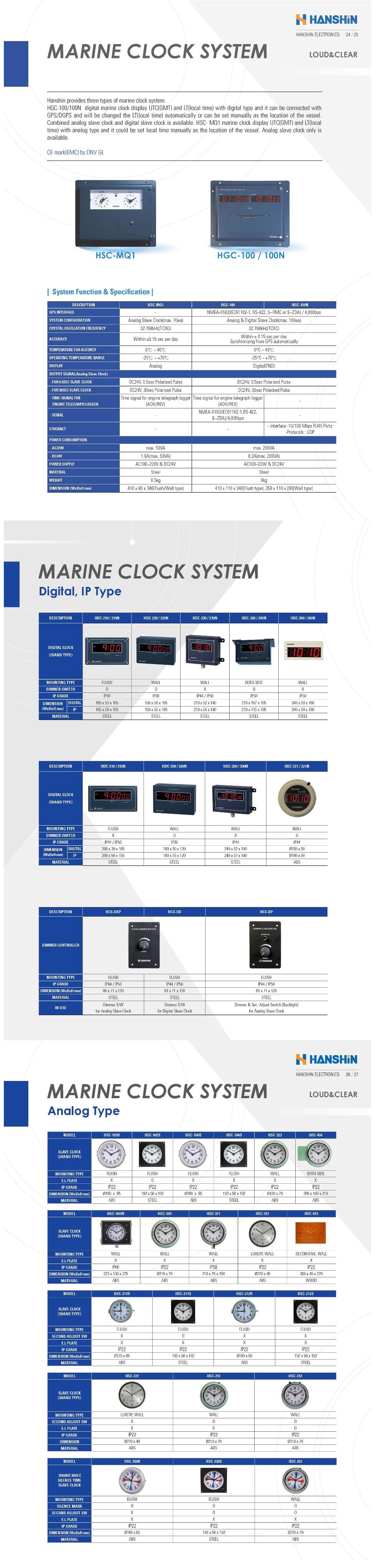 Hanshin Electronics Marine Clock System