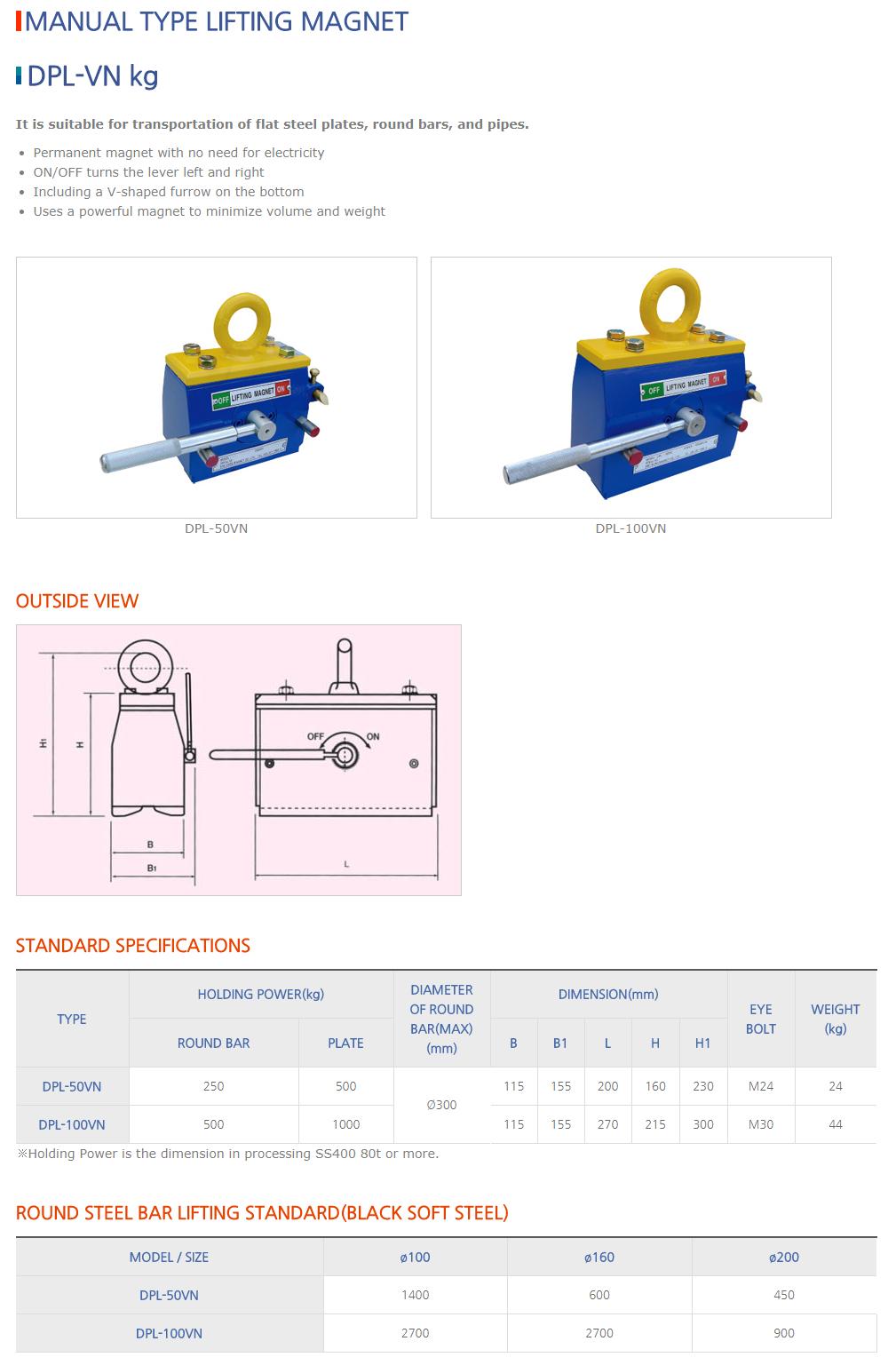 DAESUNG MARGNET Manual Type Lifting Magnet DPL-VN kg Type
