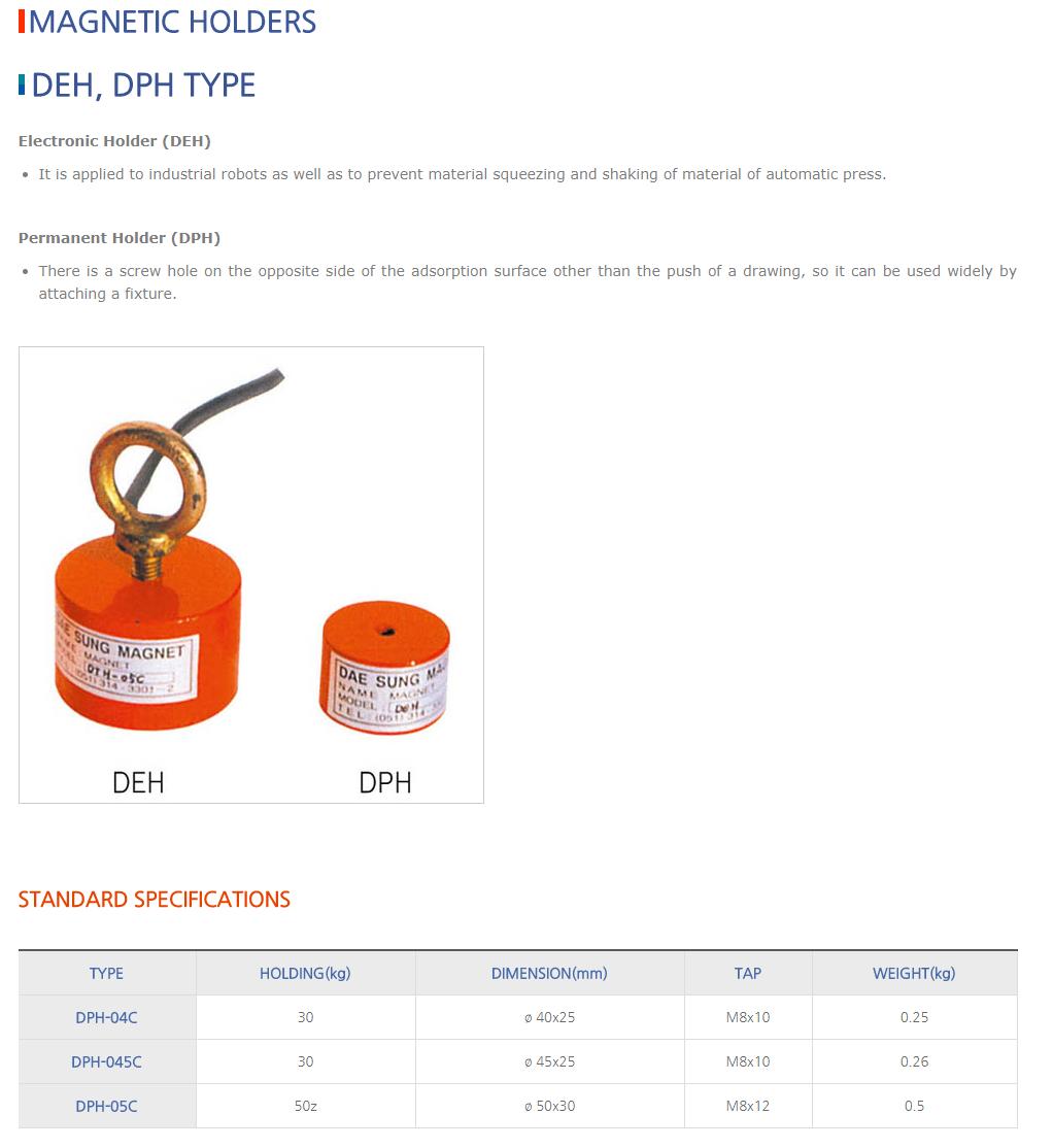 DAESUNG MARGNET Magnetic Holders DEH/DPH Type