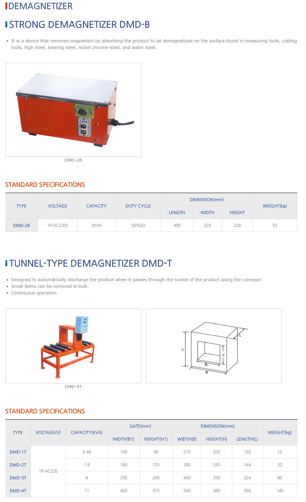 DAESUNG MARGNET Demagnetizer DMD-B/DMD-T Type