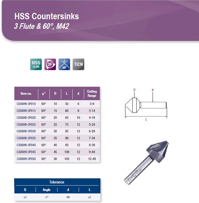 DYC Total Tools HSS Countersinks 3 Flute & 60°, M42 CS06H9 Series