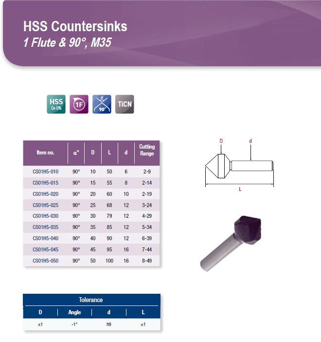 DYC Total Tools HSS Countersinks 1 Flute & 90°, M35 CS01H5 Series