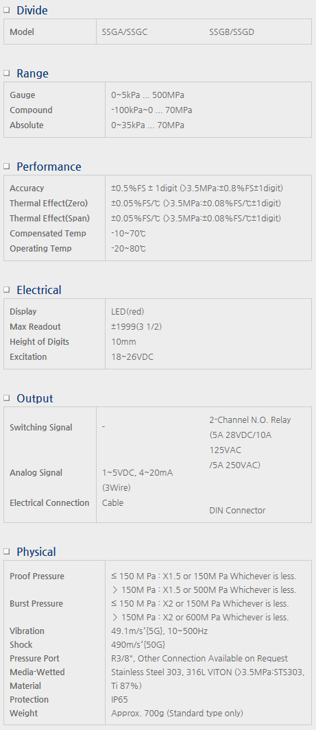 Sensor System Technology Digital Pressure Gauge for External Power SSG