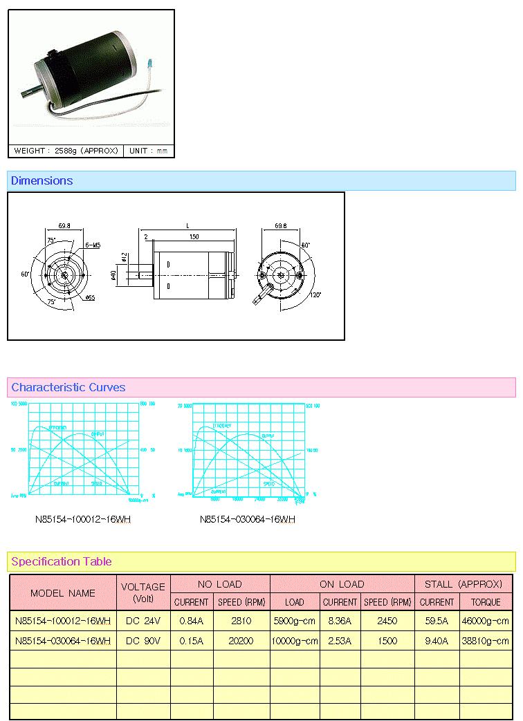 KOREA I.G Motor  N85154 Series