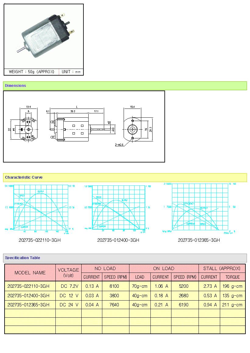 KOREA I.G Motor  202735 Series