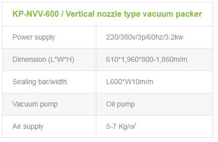 광림파워팩 수직형 노즐식 진공포장기계 KP-NVV-600 2