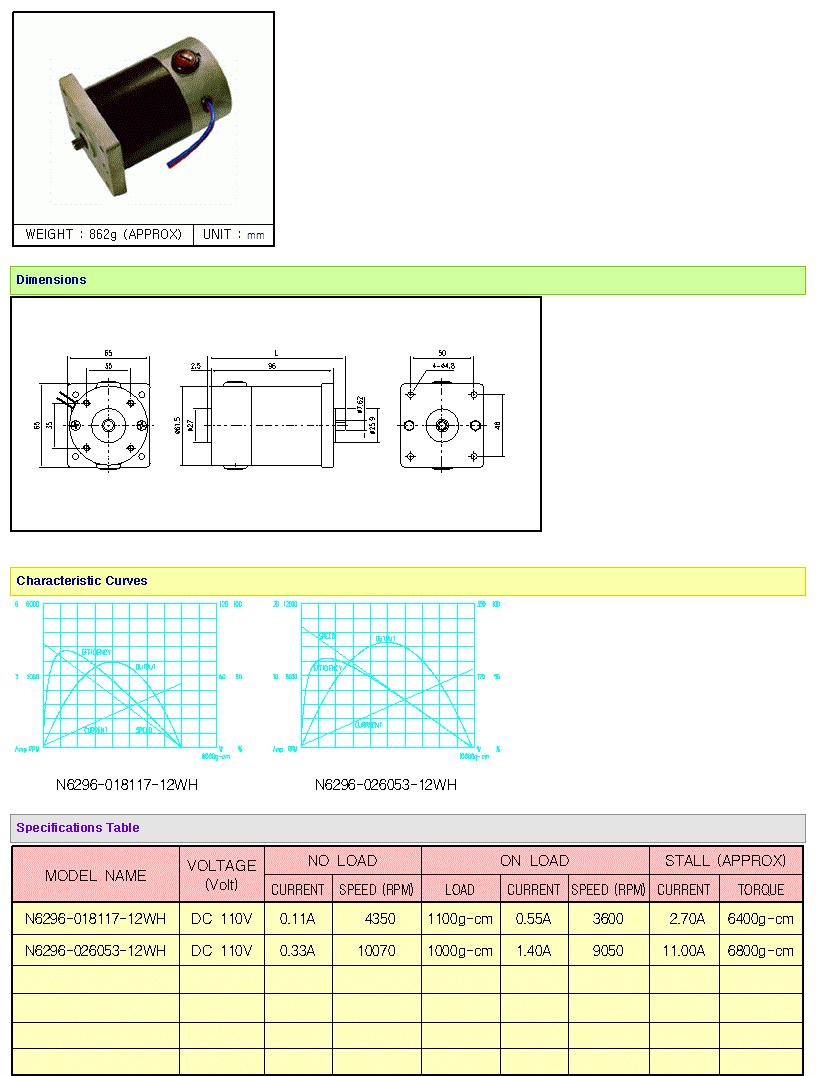 KOREA I.G Motor  N6296 Series