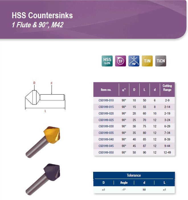 DYC Total Tools HSS Countersinks 1 Flute & 90°, M42 CS01H9 Series