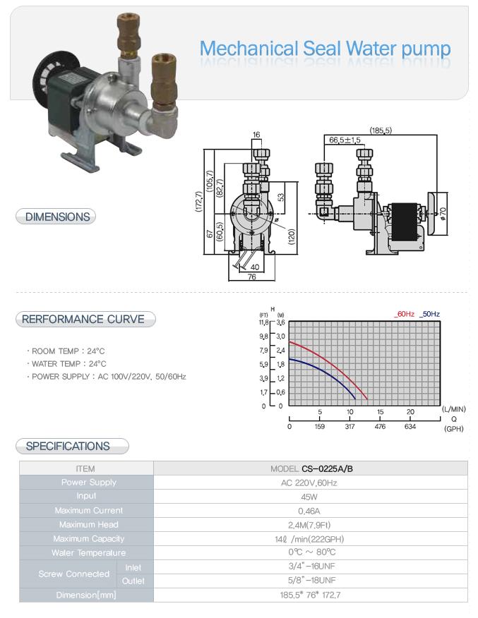 CSE Mechanical Seal Water Pump CS-0225A/B