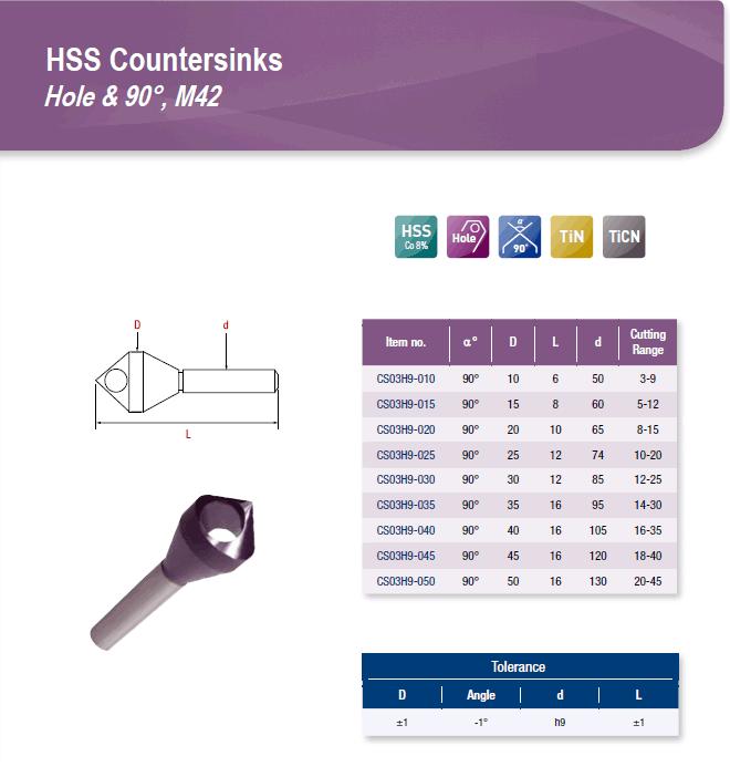 DYC Total Tools HSS Countersinks Hole & 90°, M42 CS03H9 Series
