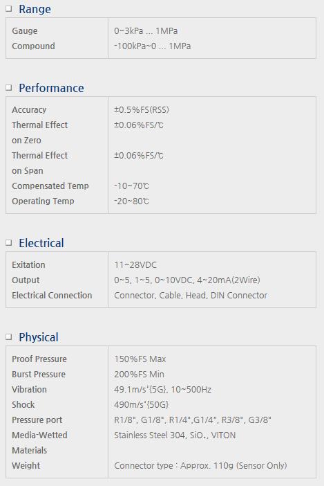 Sensor System Technology Pressure Transmitters for Air Pressure Model PSG