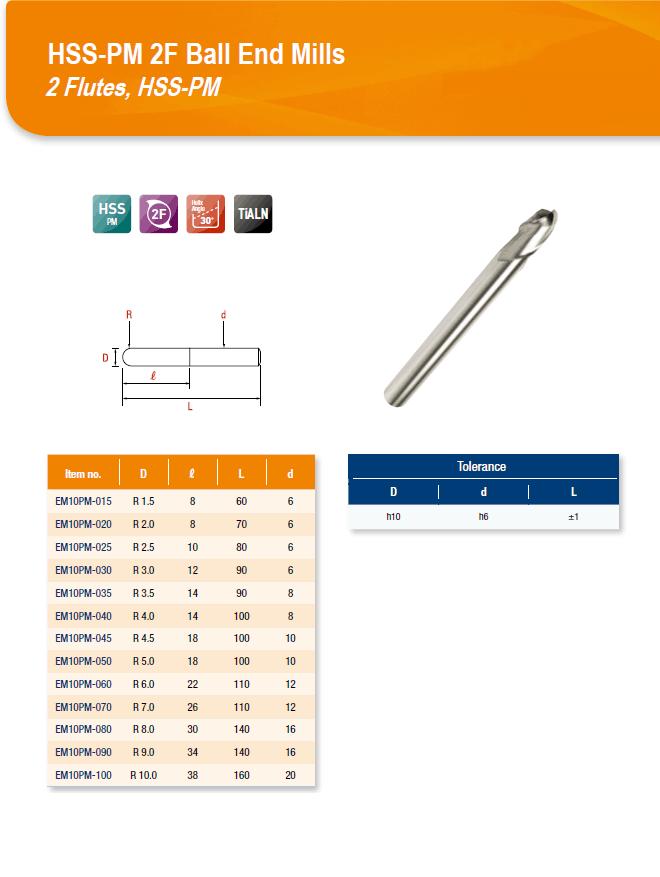 DYC Total Tools HSS-PM 2F Ball End Mills 2 Flutes, HSS-PM EM10PM Series