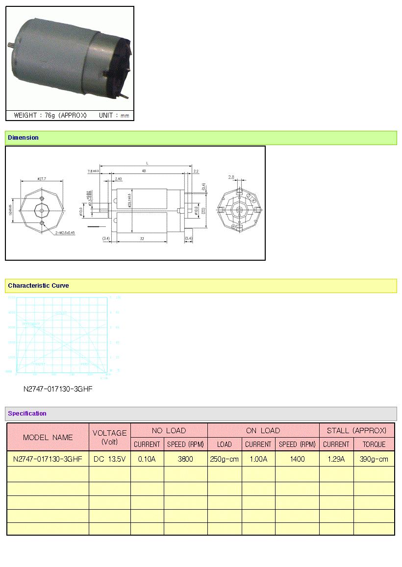 KOREA I.G Motor  N2747 Series