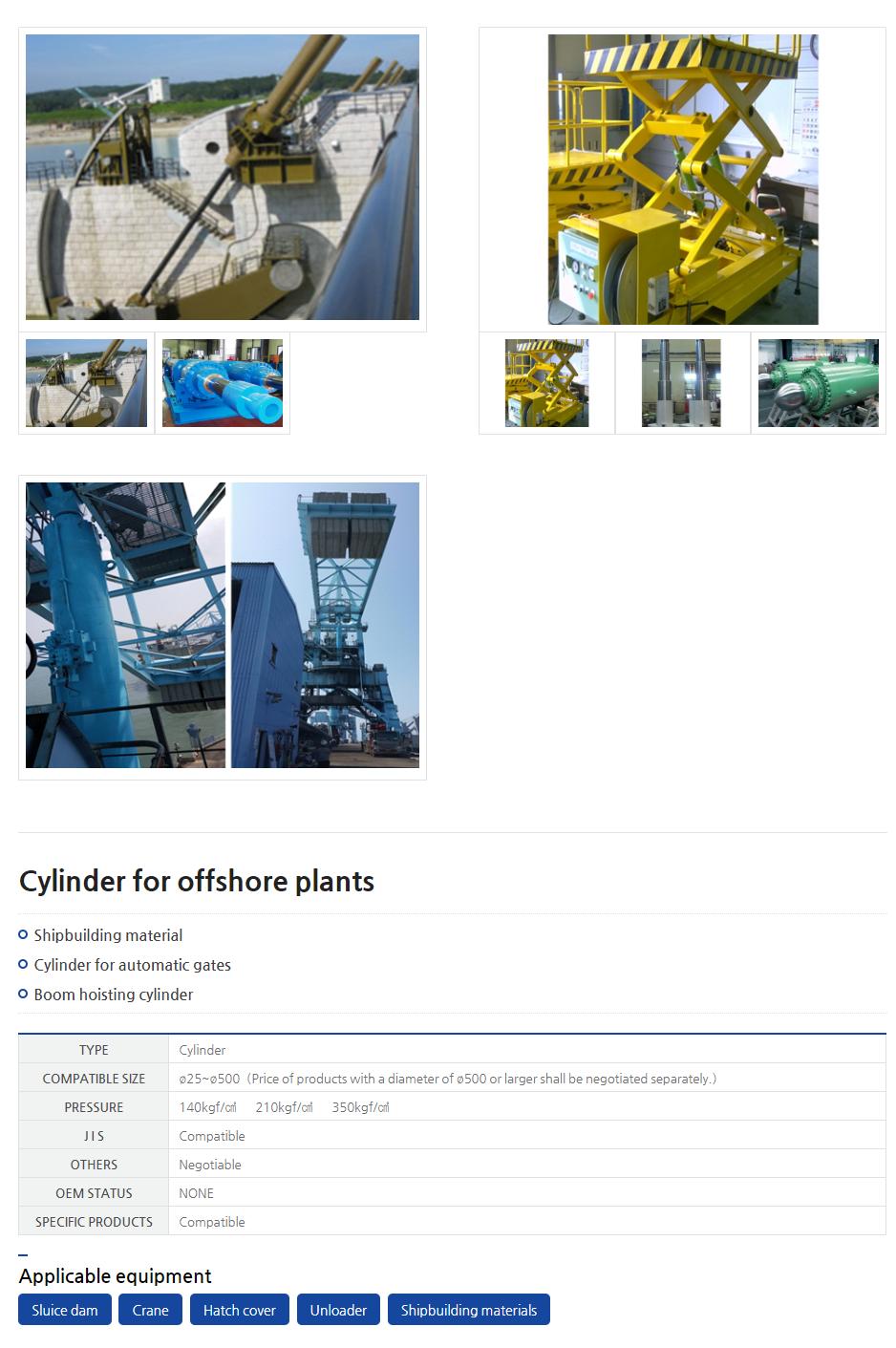 CYSKO Cylinder for offshore plants