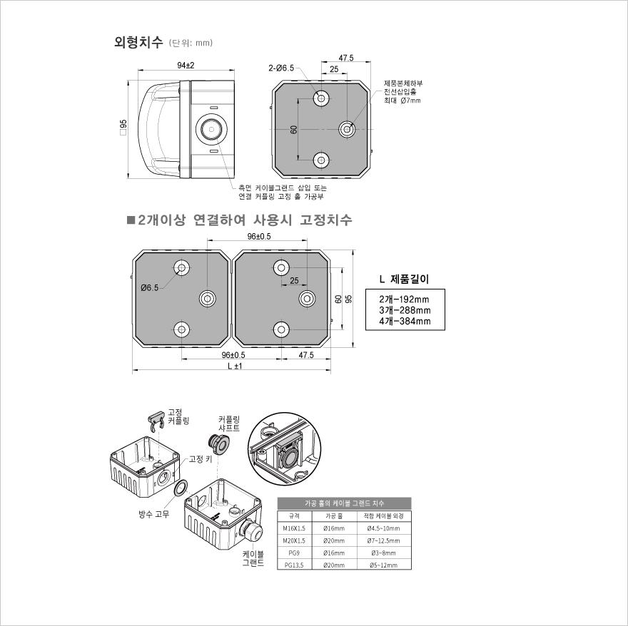 매닉스 Ø95mm 각형-제논 램프 경고등 MQVX Series 3
