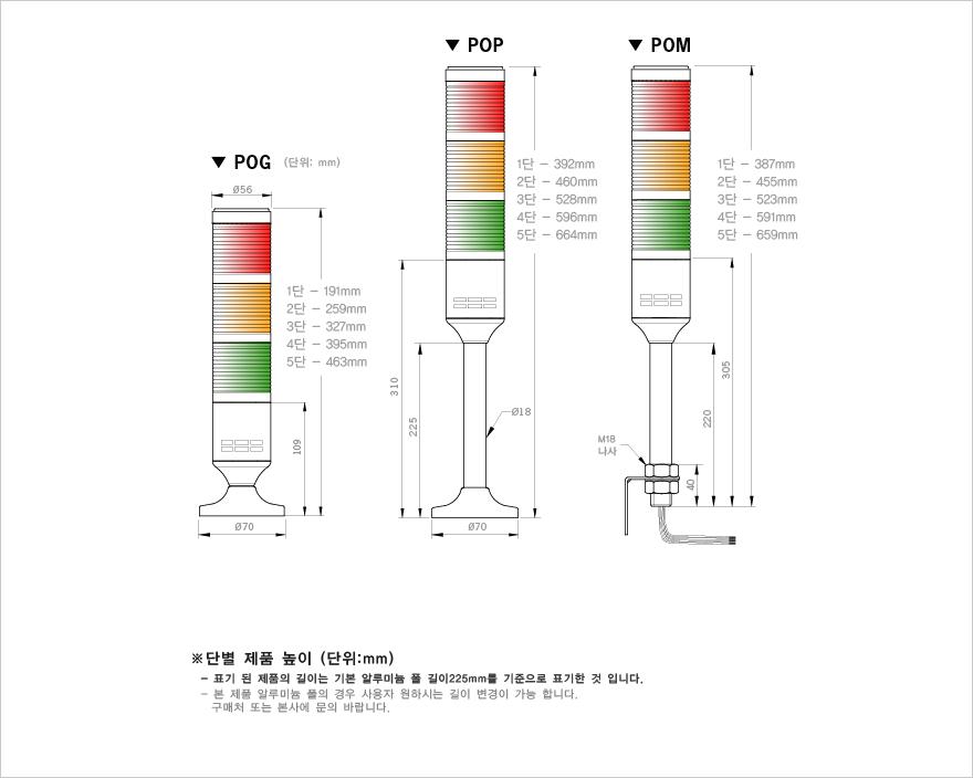 매닉스 Ø56mm 전구형 타워등 (점등전용) PO Series 3