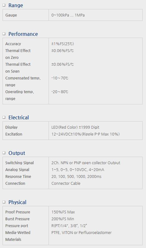Sensor System Technology Digital Pressure Gauge for External Power SMA(CR)