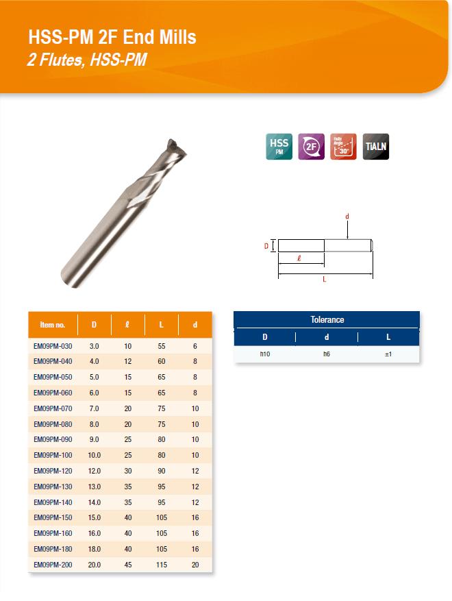 DYC Total Tools HSS-PM 2F End Mills 2 Flutes, HSS-PM EM09PM Series