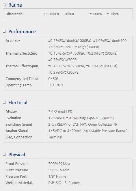 Sensor System Technology Differential Pressure Transmitter for Air Pressure Model DPB