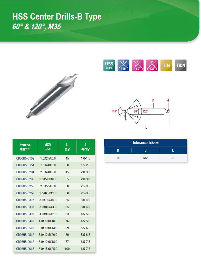 DYC Total Tools HSS Center Drills-B Type 60° & 120°, M35 CD06H5 Series