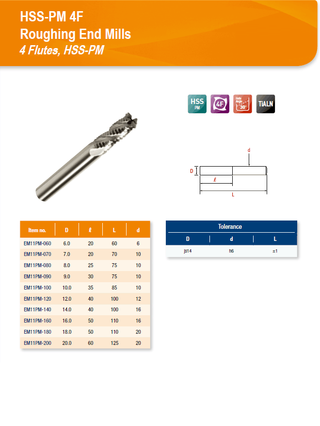 DYC Total Tools HSS-PM 4F Roughing End Mills 4 Flutes, HSS-PM EM11PM Series