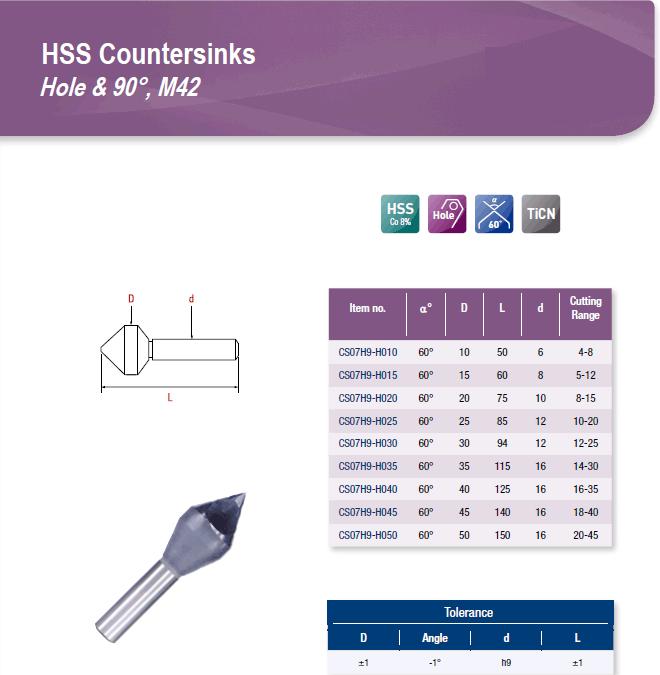 DYC Total Tools HSS Countersinks Hole & 90°, M42 CS07H9 Series