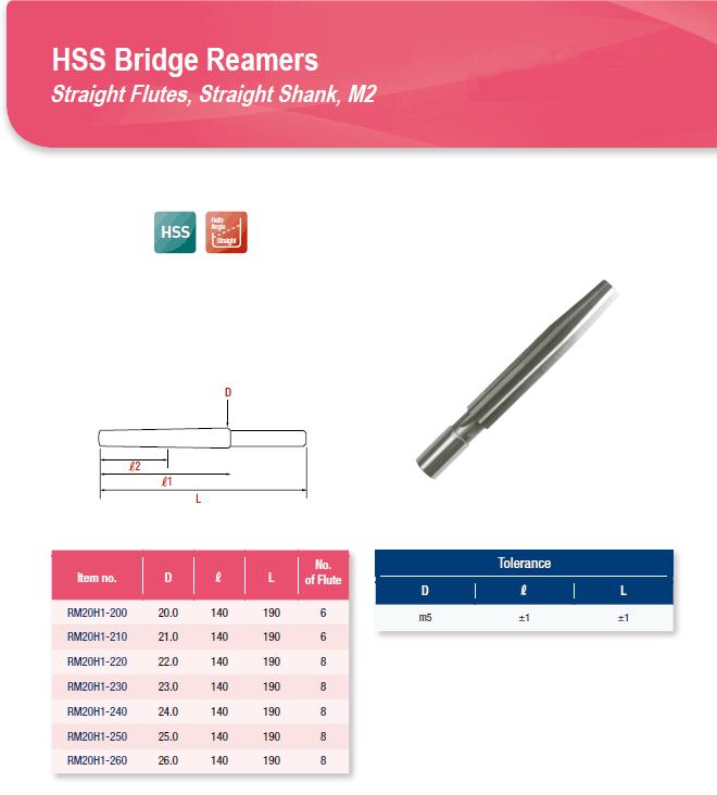 DYC Total Tools HSS Bridge Reamers RM20H1 Series