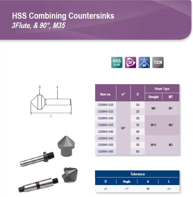 DYC Total Tools HSS Combining Countersinks 3 Flute, & 90°, M35 CS09H5 Series