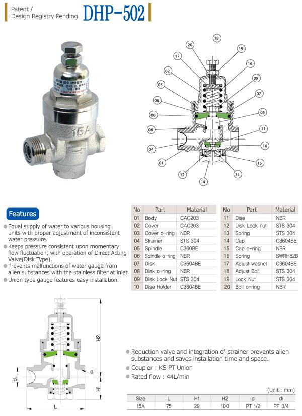 Dae Han Industry Direct Acting Reducing Valve for Water Gauge (Screw-type) DHP-502