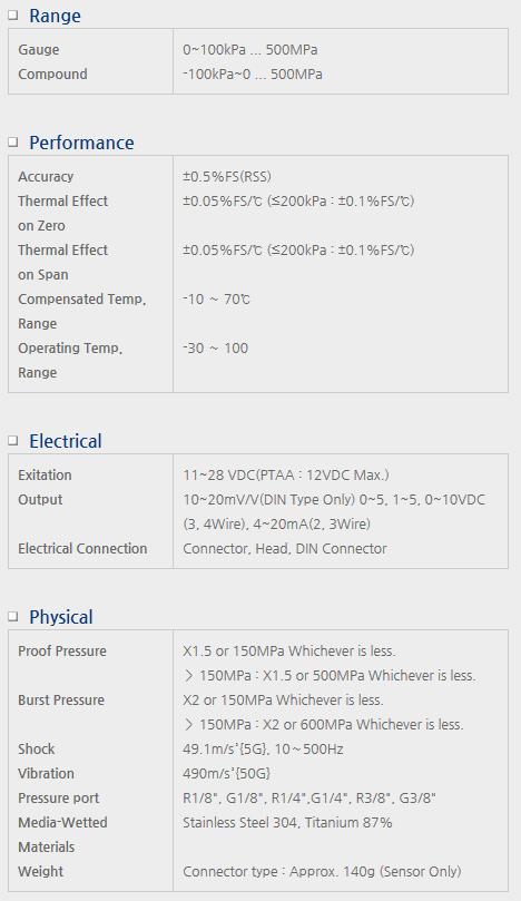 Sensor System Technology Pressure Transmitters for Pressure Shock Resistant Model PTA