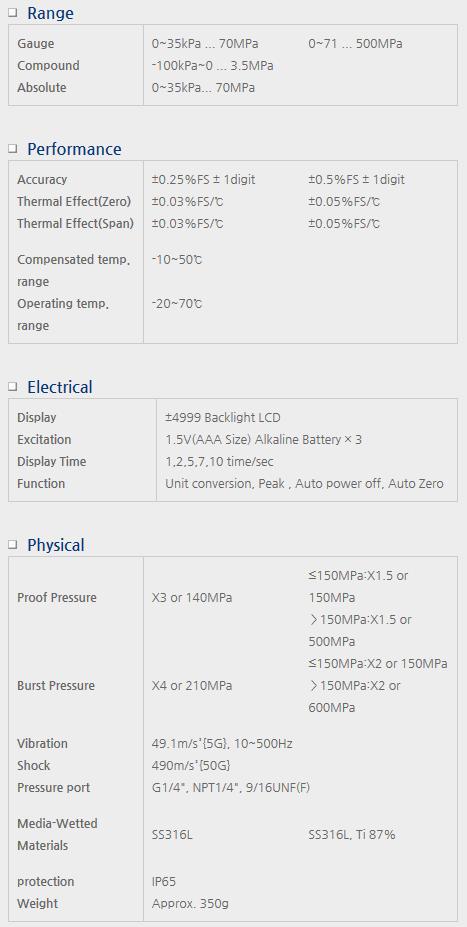 Sensor System Technology Digital Pressure Gauge for Battery Power SBH