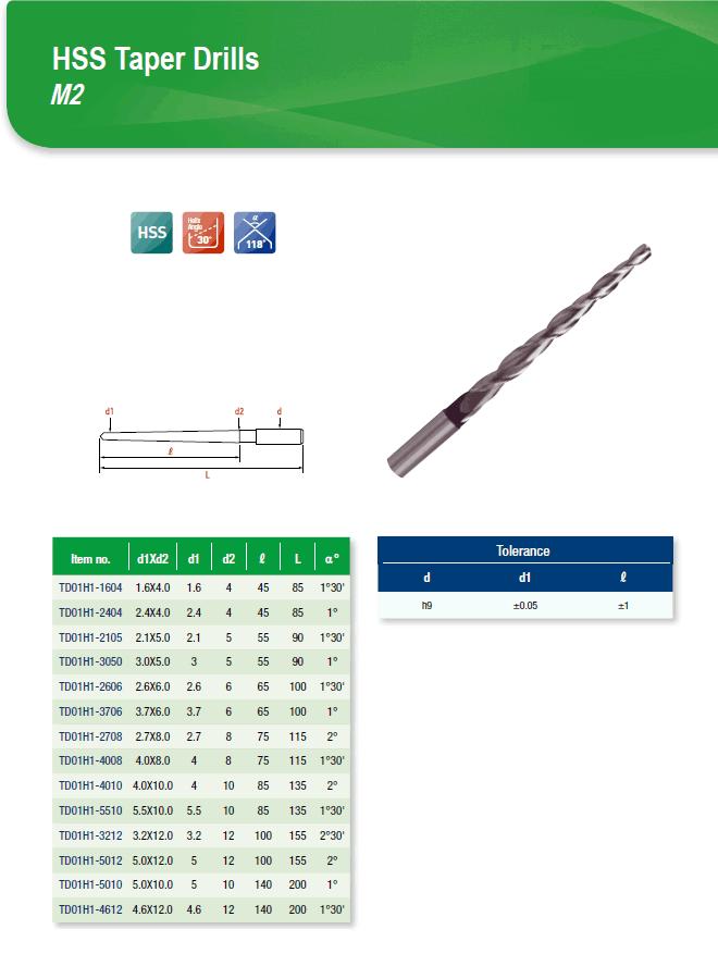 DYC Total Tools HSS Taper Drills M2 TD01H1 Series