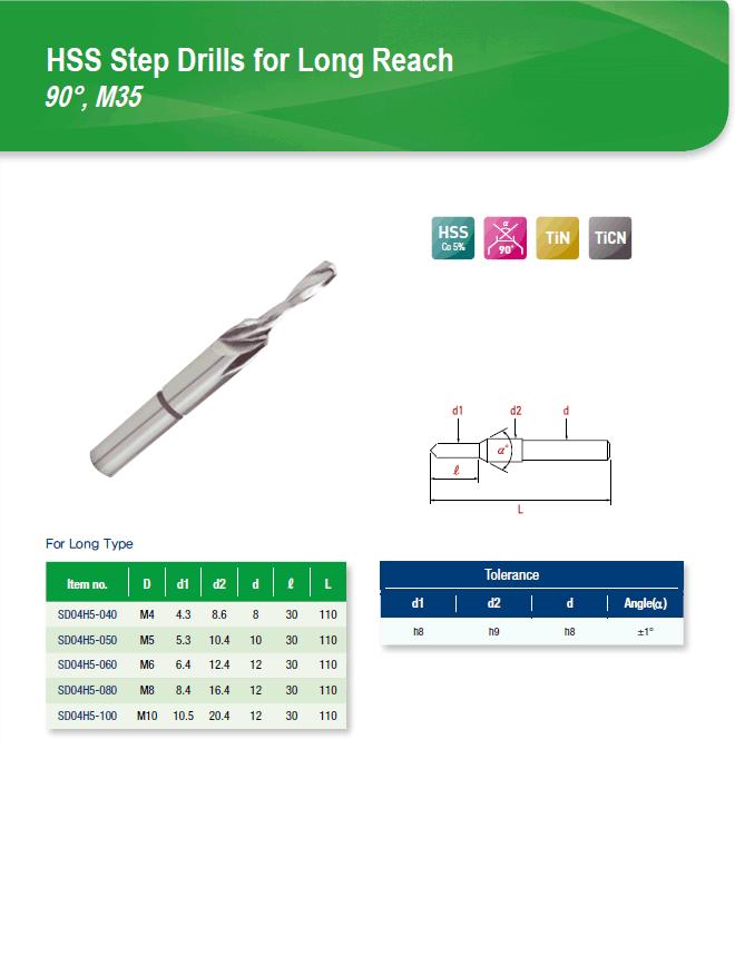 DYC Total Tools HSS Step Drills for Long Reach 90°, M35 SD04H5 Series