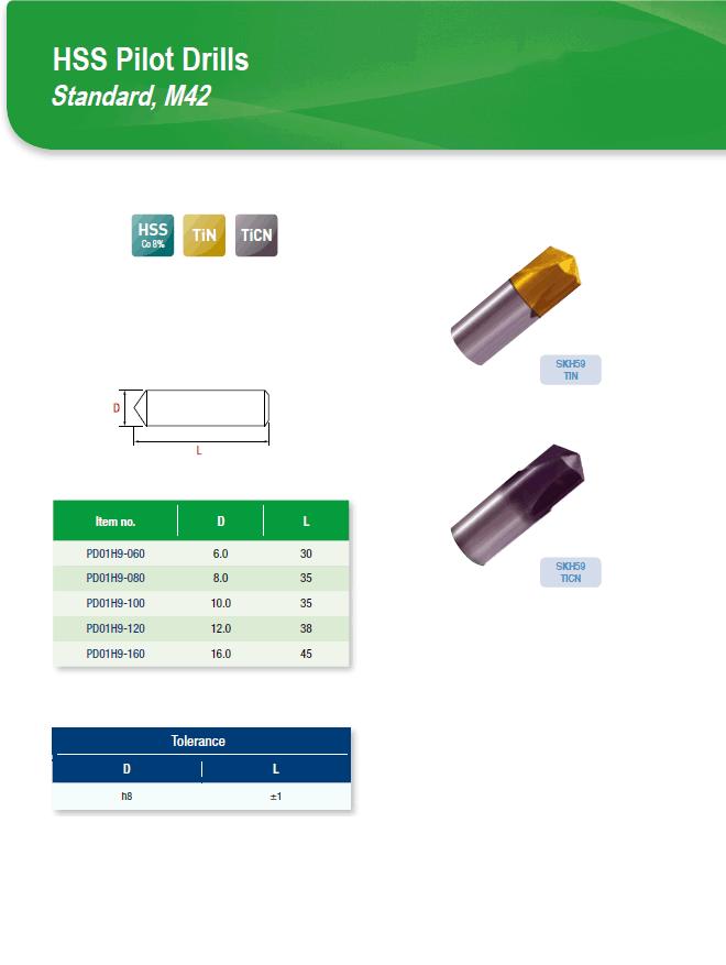 DYC Total Tools HSS Pilot Drills Standard, M42 PD01H9 Series