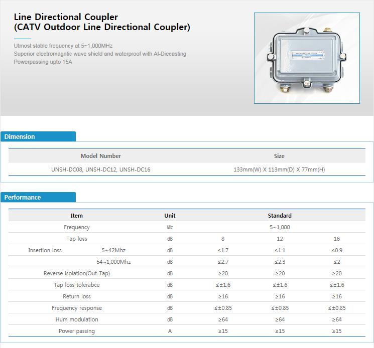 ES-TECH International Line Directional Coupler UNSH-DC08/DC12/DC16
