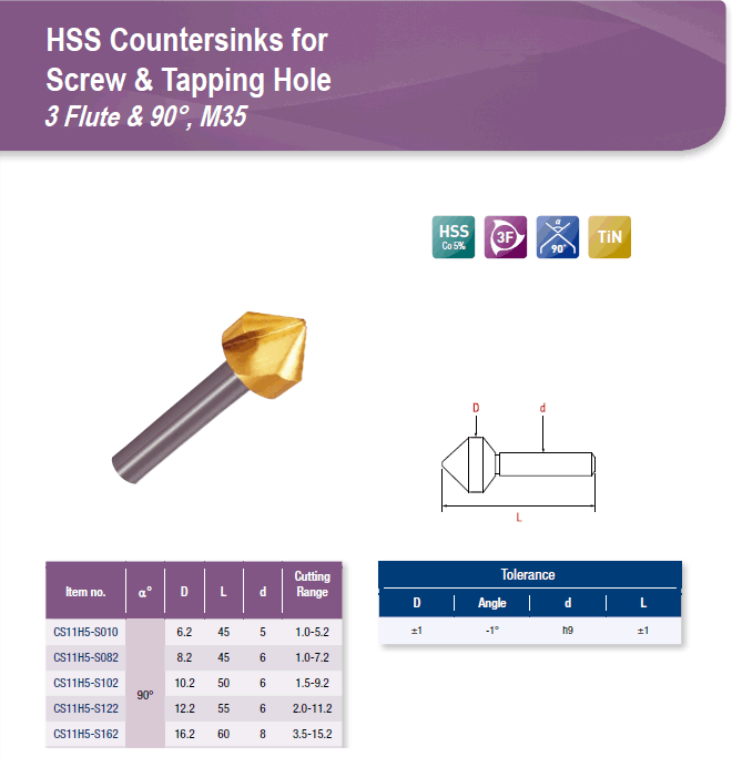 DYC Total Tools HSS Countersinks for Screw & Tapping Hole 3 Flute & 90°, M35 CS11H5 Series