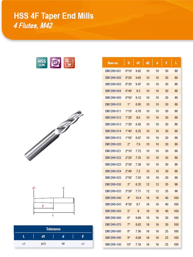 DYC Total Tools HSS 4F Taper End Mills 4 Flutes, M42 EM12H9 Series