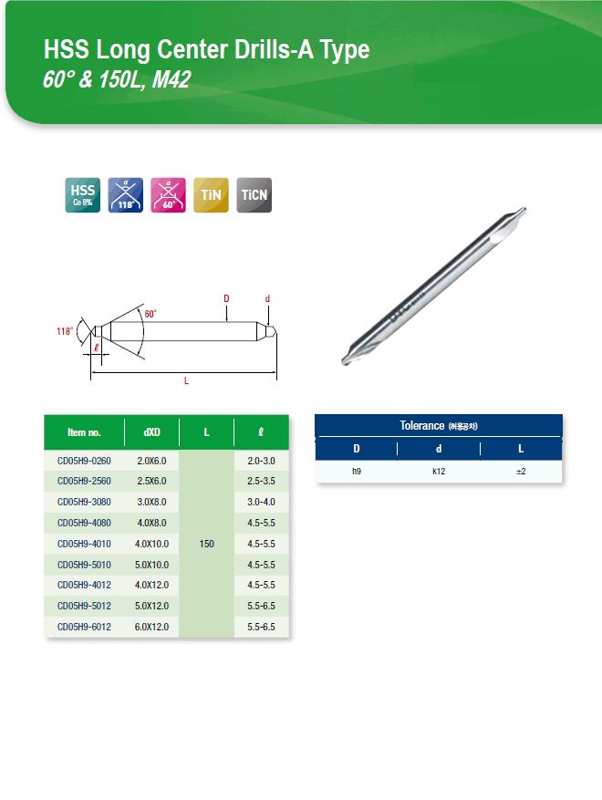 DYC Total Tools HSS Long Center Drills-A Type 60° & 150L, M42 CD05H9 Series