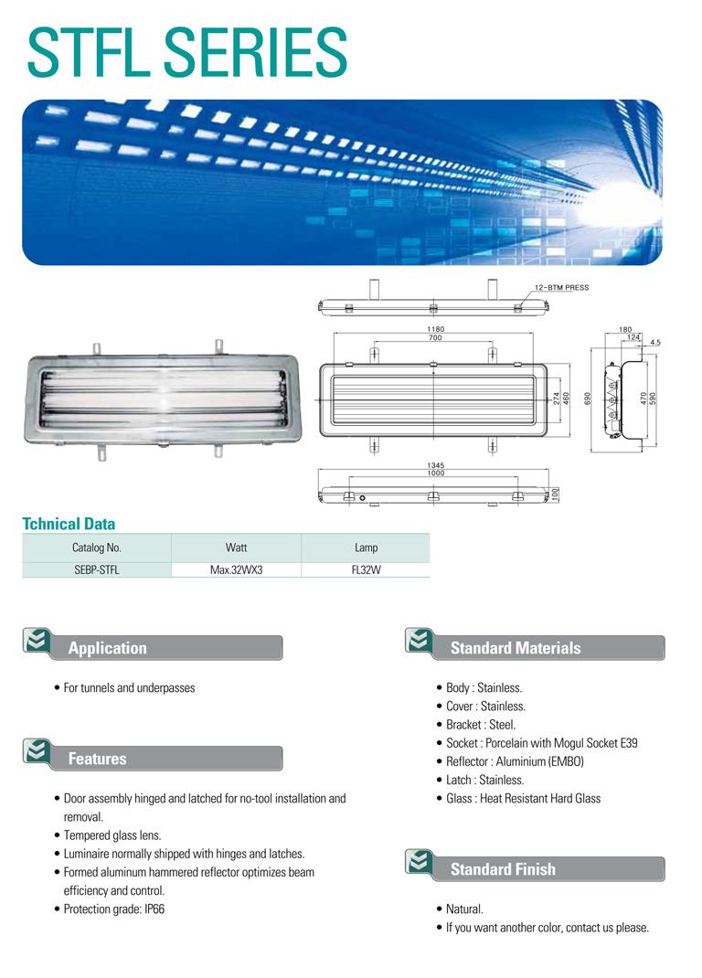 Samik Explosi Onproof Elxctric Stainless Steel Tunnel Fluorescent Lights STFL Series