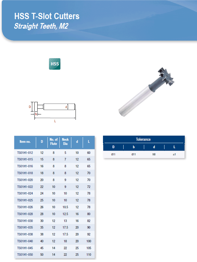 DYC Total Tools HSS T-Slot Cutters Straight Teeth, M2 TS01H1 Series
