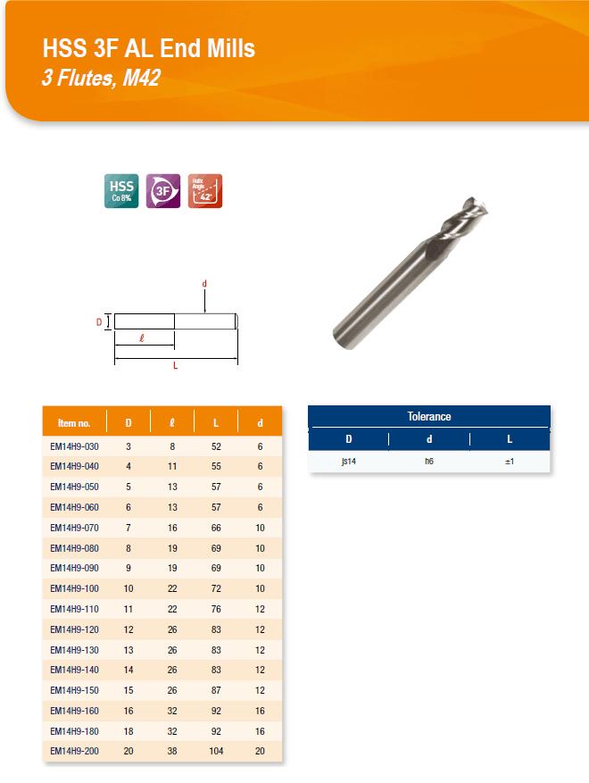 DYC Total Tools HSS 3F AL End Mills 3 Flutes, M42 EM14H9 Series